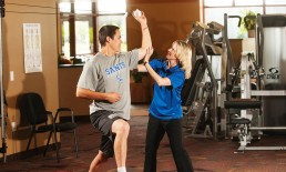 patient receiving physical therapy for baseball injury