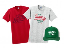 Sammy's Apparel t-shirts and hat.