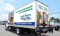 twin ports paper supply white truck wrap side view