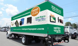 twin ports paper supply track wrap behind truck