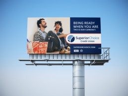 Superior Choice Credit Union couple painting outdoor billboard mockup