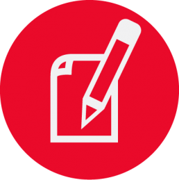 Paper and pencil icon in white and red.