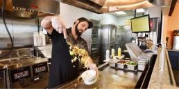 Steak Escape Employee Prepares A Healthy Bowl