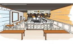 steak escape restaurant interior design mock up