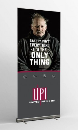 united piping inc safety is the only thing standing banner