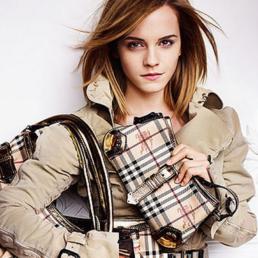 Model with Burberry Handbags.